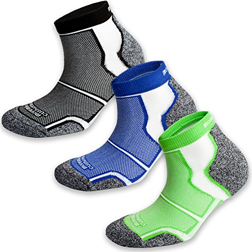 3 Pairs More Mile New York Cushioned Coolmax Sports Running Socks 8.5-10.5...