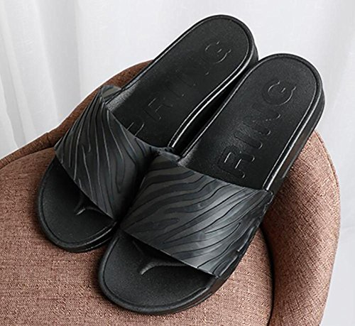 Summer new simple home slippers stripes comfortable word drag on the daily leisure cool sand couple shoes , 4 , 41