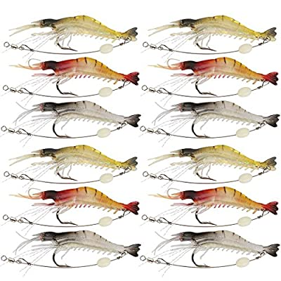 Shelure Soft Lures Shrimp Bait Set, Freshwater/ Saltwater, Trout Bass Salmon