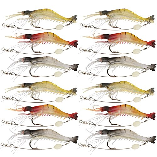 Goture Soft Lures Shrimp Bait Set, Freshwater/Saltwater, Trout Bass Salmon, 12 Piece (Best Way To Bait A Hook With Shrimp)