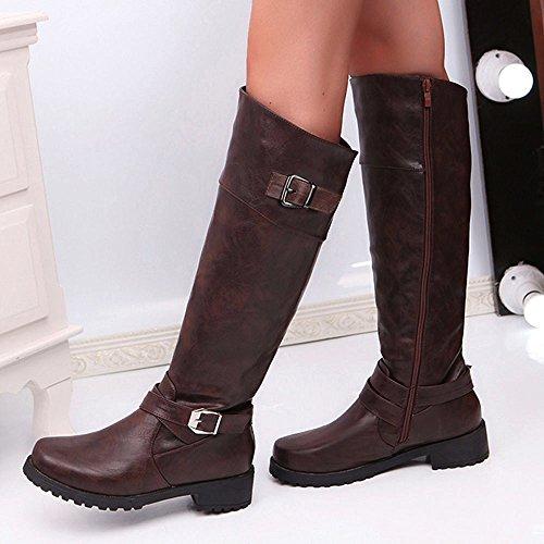 Boots Autunno Invernali Cavaliere Stivali BeautyTop Alla Boots Marrone Donna Pelle Caviglia Stivaletto Scarpe Beauty Stivali Piatta Top Mid qXgU00