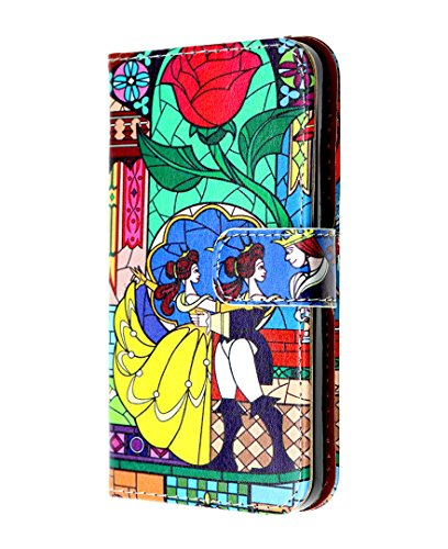 Galaxy S7 Wallet Case, IMAGITOUCH Folio Flip PU Leather Wallet Case with Kickstand Wrist strap and Card Slots for Samsung Galaxy S7 – Beauty and the Beast Rose Wallet
