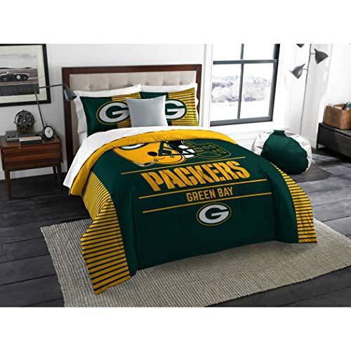 3 Piece NFL Green Bay Packers Comforter Full Queen Set, Sports Patterned Bedding, Featuring Team Logo, Fan Merchandise, Team Spirit, Football Themed, National Football League, Green, Yellow, Unisex