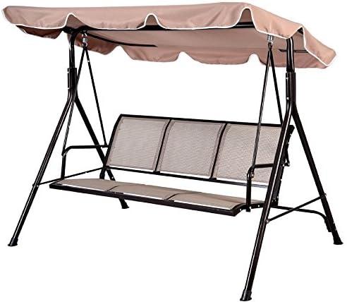 Balancín PROGEN, 3 plazas, para el jardín o patio, con toldo, silla columpio, con cojín, de metal, beige: Amazon.es: Jardín