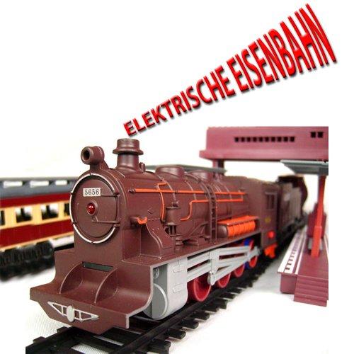 Elektrische Eisenbahn, Zug, Dampf-Lok mit über 10 Meter Strecke, viel Zubehör und Soundsimulation, Modell-Lokomotive, Neu