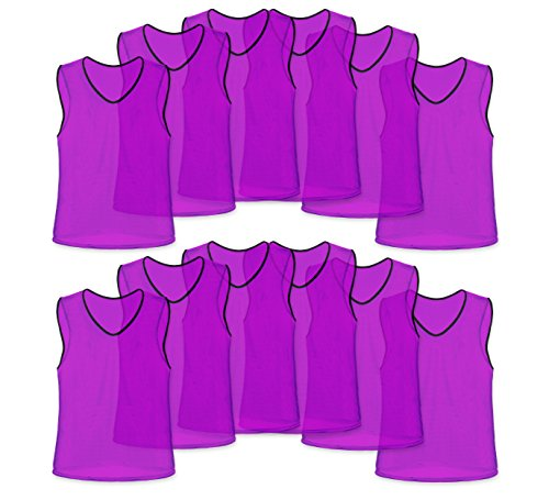 Unlimited Potential Nylon Mesh Scrimmage Team Practice Vests Pinnies Jerseys for Children Youth Sports Basketball, Soccer, Football, Volleyball (Purple, Adult) Purple Mesh Vest