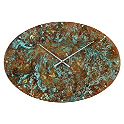 Patinated Copper Large Rustic Oval Wall Clock 20-inch - Silent Non Ticking Gift for Home/Office/Kitchen/Bedroom/Living Room