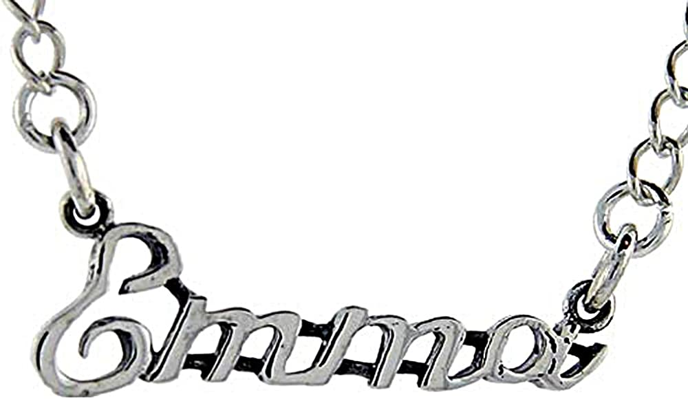 Sterling Silver Name Necklace Emma 3//8 Inch 17 Inches Long