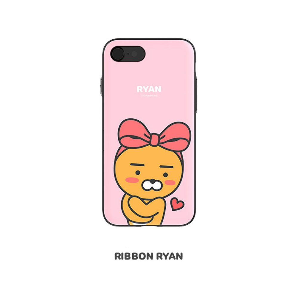 37ae57ede Amazon.com: Kakao Friends Door Bumper Case with Card Storage for Smartphone  (Ribbon Ryan, iPhone 8): Cell Phones & Accessories