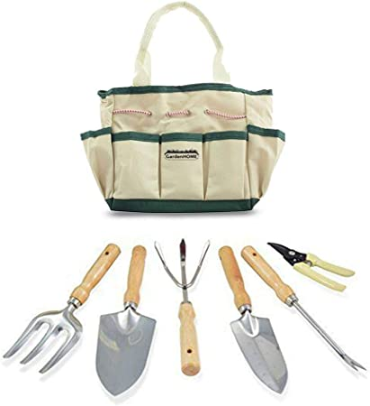 Garden Tool 7 Piece Set Includes Folding Stool Tool Bag 5 Stainless Steel Tools