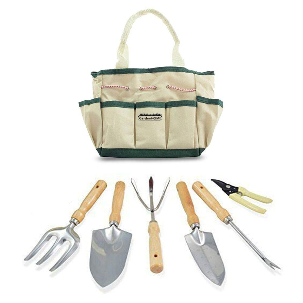GardenHOME Garden Tool Set 7 Picec Includes 6 Stainless Steel LIGHTWEIGHT Tools with Heads and Ergonomic Wood Handles and Garden Tote by GardenHOME