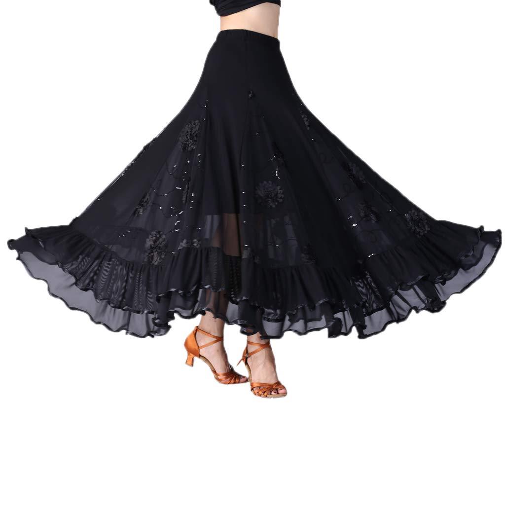 Falda Larga Plisada de Mujer Cintura Alta Bordado de Flores con ...