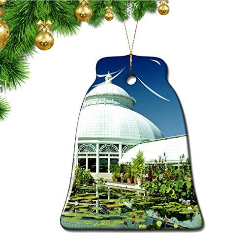 Hqiyaols Ornament USA America New York Botanical Garden Bronx Christmas Ornaments Bell Shape Ceramic Sheet Souvenir Travel Gift Tree Door Window Ceiling Pendant Decorative Hanging