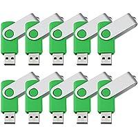 KEXIN Swivel Design USB Flash Drive 4GB Bulk 10 Pack Thumb Drive USB2.0 -Green 4G