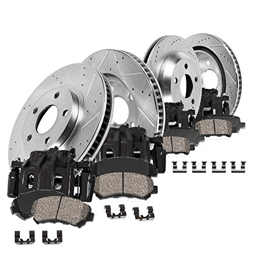 CCK01853 FRONT + REAR Powder Coated Black [4] Calipers + [4] Zinc Plated D/S Rotors + Low Dust [8] Ceramic Pads