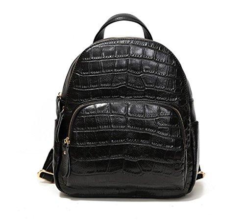 6 inch LXopr handbag 4 9 Black 11 8 Genuine backpack backpack 3 Leather Ms xxT06p