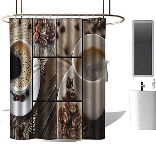 african american shower curtains for bathroom sets Brown,Coffee Themed Collage Close Up Mugs Beans on Wooden Table Aromatic Roasted Espresso Drink,Brown ,W72