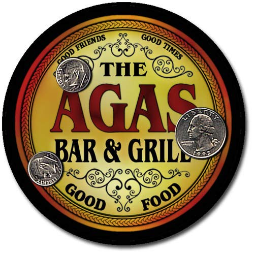 Agas Family Bar and Grill Patriotic Rubber Drink Coaster Set