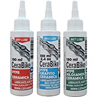 CeraBike PACKLUBE. Pack DE LUBRICANTES para Cadena. WAXLUBE, DRYLUBE Y WETLUBE. (3X130 ML). WWW.CERABIKE.COM