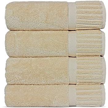 Luxury Hotel-Spa Turkish Cotton 4-Piece Bath Towels (Beige)