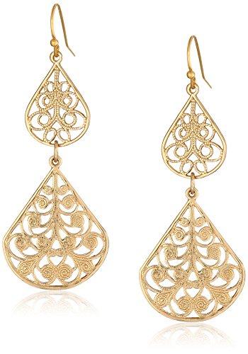 1928 Jewelry Gold-Tone Filigree Vine Double Drop Earrings -