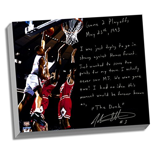 NBA New York Knicks 22x26 John Starks Facsimile 'Game 2 Dunk Over Jordan' Story Stretched Canvas by Steiner Sports