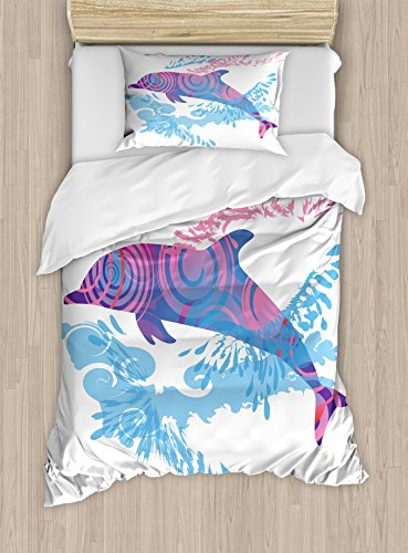 Ambesonne Sea Animals Duvet Cover Set, Dolphin with Colorful Patterns Underwater Sea Life Illustration, Decorative 2 Piece Bedding Set with 1 Pillow Sham, Twin Size, Blue Purple