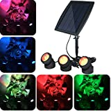 YADICO Solar Powered Submersible RGB Lamps Color Changing Landscape Spotlight Underwater Night Light for Garden Pool Pond Outdoor Decoration