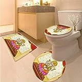 Anhuthree Sacred 3 Piece Toilet mat Set Bohemian Yoga Meditation Spiritual Ancient Mythological Character Religion Temple 3 Piece Large Contour Mat Set Multicolor