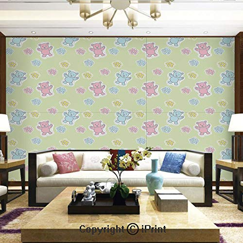 - Lionpapa_mural Removable Wall Mural Ideal to Decorate Bedroom,or Office,Baby Toy Drawing Pattern with Soft Colored Teddy Bears and Wildflowers Decorative,Home Decor - 66x96 inches