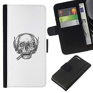 NEECELL GIFT forCITY // Billetera de cuero Caso Cubierta de protección Carcasa / Leather Wallet Case for Apple Iphone 5C // Cigarro jefe cráneo