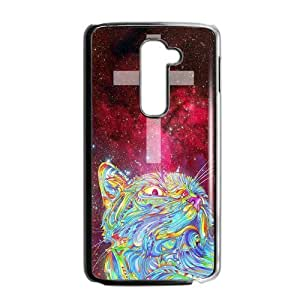 Funny Mega Space Cat Rising case cover for LG G2 (Fit for AT&T),Metal and Hard Plastic Case-Clear Frame