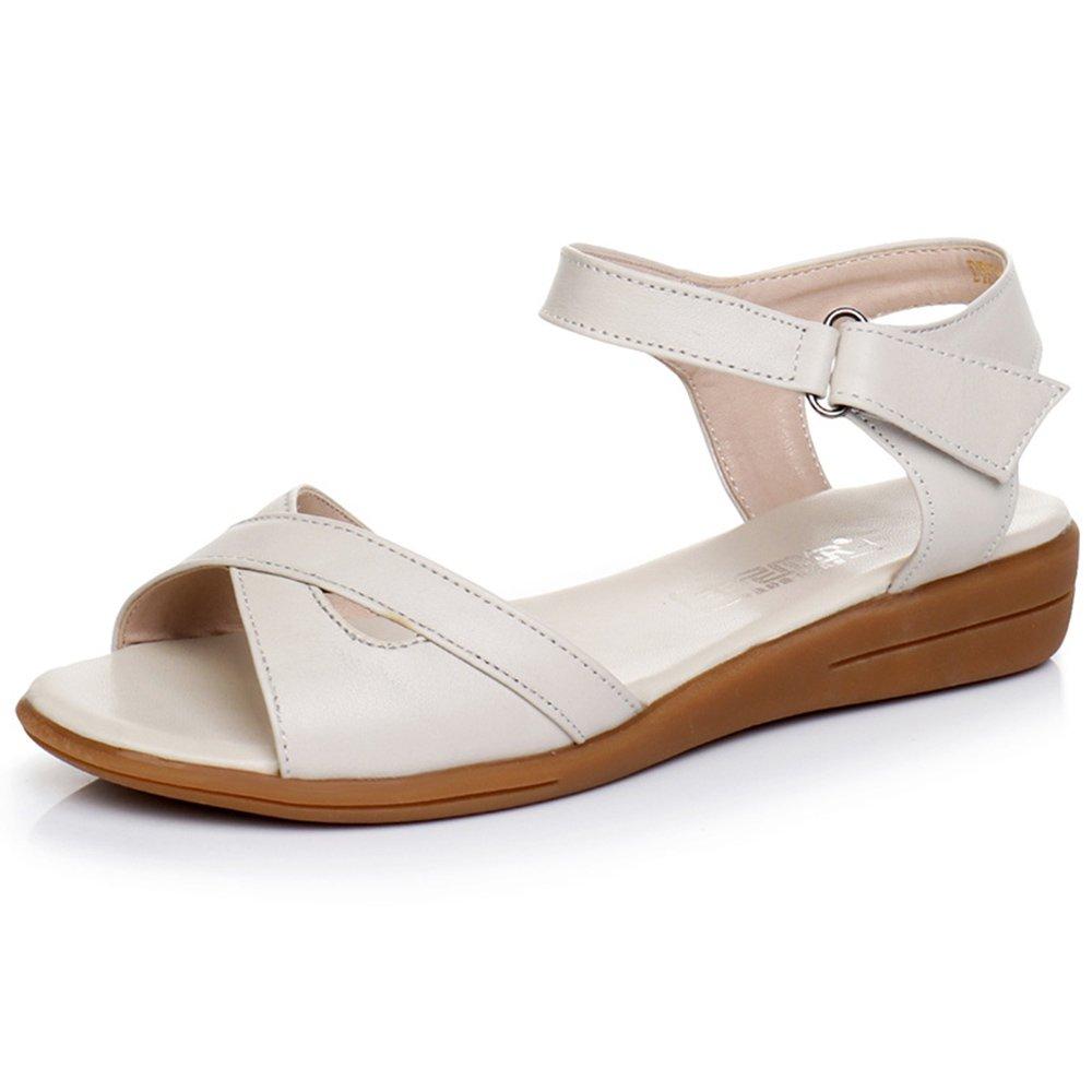JIU Sandalias Talón Plano Inferior de Cuero Plano Antideslizante Zapatos de Mujeres Salvajes Blanco y Negro Simple (tamaño Opcional) Amado por Las Damas (Color : Blanco, Tamaño : EU38/UK5.5/CN38)