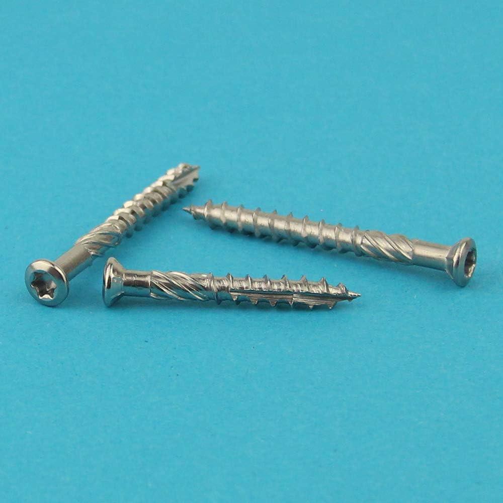 geh/ärtet 100 St/ück Edelstahl C1 - rostfrei - TX-25 mit CUT-Spitze und Schneidkerbe Eisenwaren2000 1.4006 Terrassenschrauben 5 x 40 mm