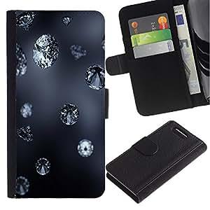 Sony Xperia Z1 Compact / Z1 Mini / D5503 , la tarjeta de Crédito Slots PU Funda de cuero Monedero caso cubierta de piel ( Diamond Blue Rain Jewel Bling Grey Autumn Nature)