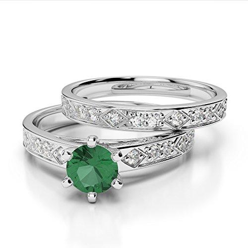 Or blanc 18carats 1/2ct G-H/VS sertie de diamants ronds découpé Émeraude et de mariage Bague de fiançailles et ensemble de Agdr-1151