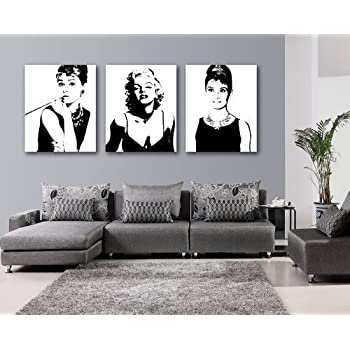 espritte art large classic marilyn monroe and audrey hepburn picture painting on. Black Bedroom Furniture Sets. Home Design Ideas