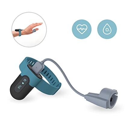 Wearable Oxygen Saturation Tracker Built-in Vibrator, Check Trends of O2  and Heart Rate on Free APP and PC Report