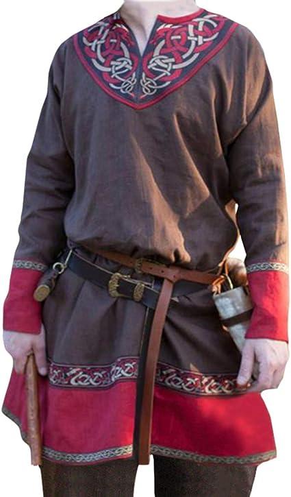 MEIHAOWEI Renacimiento Medieval Hombre Camisas Túnica Hombre Vikingo Tops Cuello en V Manga Larga Traje de Guerrero: Amazon.es: Ropa y accesorios