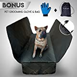 Dog Hammock For Truck - Car Seat Covers For Dog - Waterproof Universal Size - Backseat Pet Car Protector for SUV - Auto Rear Blanket - Black Quilted Durable Design Free Bonus Grooming Glove