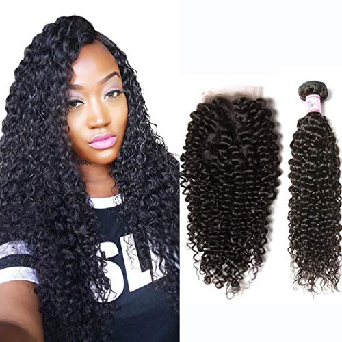 (Beauty Forever Hair 8A Malaysian Jerry Curly Hair Weave 3 Bundles With Lace Closure Free Part 100% Unprocessed Remy Virgin Human Hair Deals Natural Color 14 16 18 +12 inch closure )