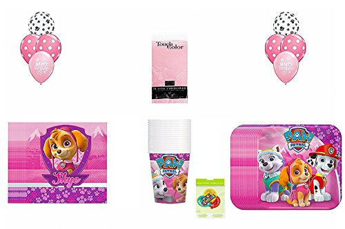 Girls Paw Patrol Party Pack ~ Dessert 16 CT, Dessert Napkin 16 CT, Cups 16 CT, 1 Tablecover & Balloons