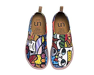 UIN Women's Charming Cat Colorful Painted Canvas Slip-On Shoe Multicolor
