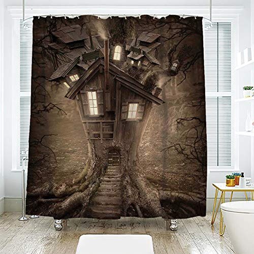 scocici Bathroom Curtain Separation Door Curtain Shower Curtain,Fantasy House Decor,Fantasy Tree House with Light in The Mysterious Forest Fairytale Story Artwork Decorative,Brown,94.4