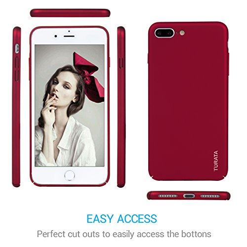 Turata iPhone 7 Plus Case Slim Fit Premium Coated Light Weight Ultra Thin Hard PC Case for iPhone 7 Plus 5.5 inch (2016) - Matte Red