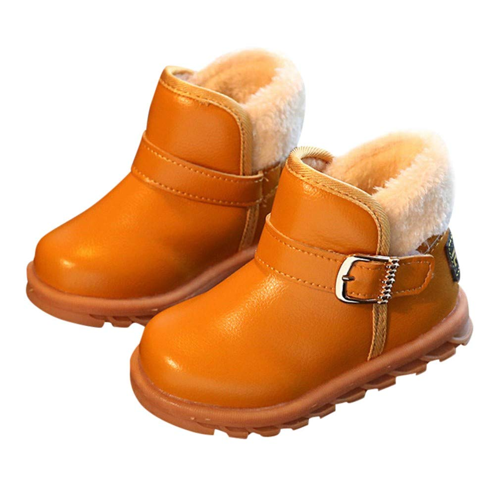 Newborn Baby Boys Girls Casual Martin Fur Fleece Leather Moccasins/Soft Rubber Sole Boots Shoes