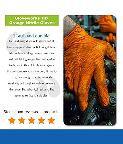 AMMEX - Gwon - Nitrile Gloves - Gloveworks - Heavy Duty, Disposable, Powder Free, Latex Rubber Free, 8 mil, Orange Nitrile Gloves