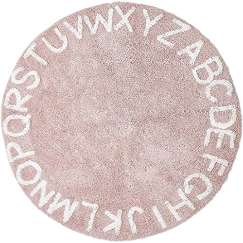 (Habudda Super Soft Cotton Luxury Plush Baby Crawling Rugs Kids Play Mat Educational ABC Alphabet Area Rugs Baby Shower Gift Kids Teepee Tent Game Play House Round 1.2 meters 47.24 inch Diameter(Pink))