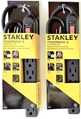 2 pack Stanley Powermax6 UL Approved 6 Outlet Power Strip Value Pack