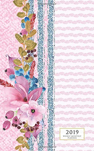 2019 Weekly Monthly Planner Pink Stripes & Flowers 12 Month Floral Small Purse Diary Monday Start Vertical Calendar Days & Appointment Agenda [Willow, Enchanted] (Tapa Blanda)